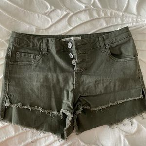 Green Button Front Shorts